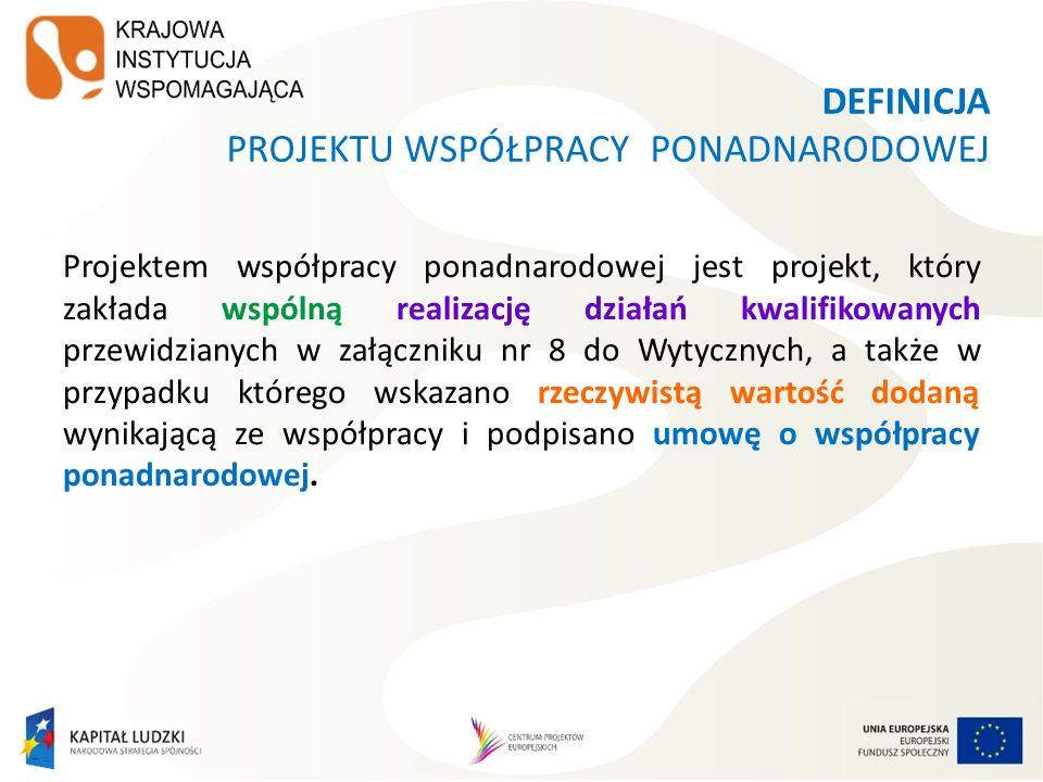 WYODRĘBNIONY PROJEKT WSPÓŁPRACY PONADNARODOWEJ 1.Zakłada współpracę ponadnarodową od początku realizacji projektu 1.Realizowany jest we współpracy z partnerem/partnerami ponadnarodowymi.