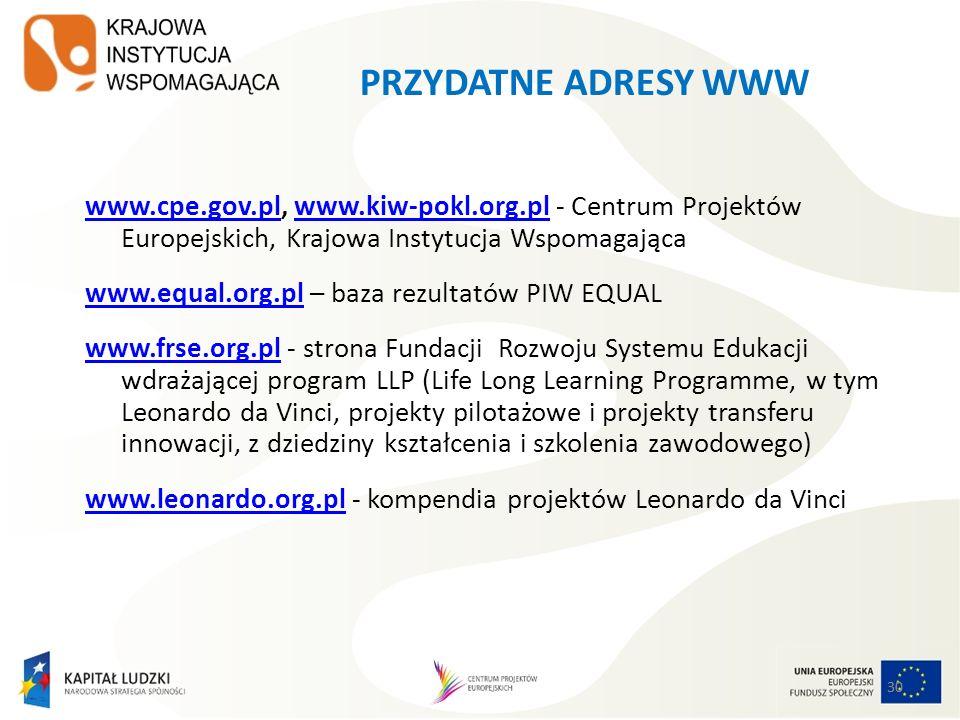 30 PRZYDATNE ADRESY WWW www.cpe.gov.plwww.cpe.gov.pl, www.kiw-pokl.org.pl - Centrum Projektów Europejskich, Krajowa Instytucja Wspomagającawww.kiw-pokl.org.pl www.equal.org.plwww.equal.org.pl – baza rezultatów PIW EQUAL www.frse.org.plwww.frse.org.pl - strona Fundacji Rozwoju Systemu Edukacji wdrażającej program LLP (Life Long Learning Programme, w tym Leonardo da Vinci, projekty pilotażowe i projekty transferu innowacji, z dziedziny kształcenia i szkolenia zawodowego) www.leonardo.org.plwww.leonardo.org.pl - kompendia projektów Leonardo da Vinci 30
