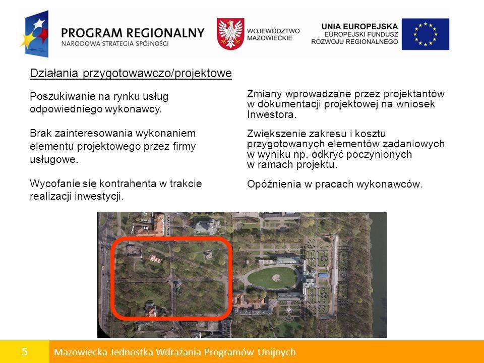 5 Mazowiecka Jednostka Wdrażania Programów Unijnych Zmiany wprowadzane przez projektantów w dokumentacji projektowej na wniosek Inwestora.