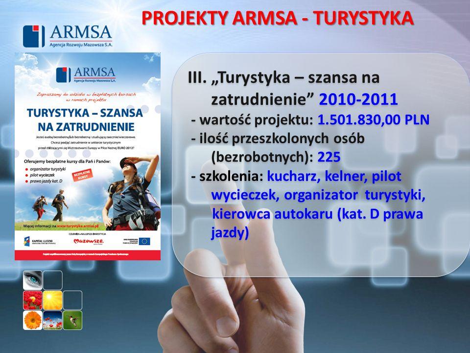 III. Turystyka – szansa na zatrudnienie 2010-2011 - wartość projektu: 1.501.830,00 PLN - ilość przeszkolonych osób (bezrobotnych): 225 - szkolenia: ku