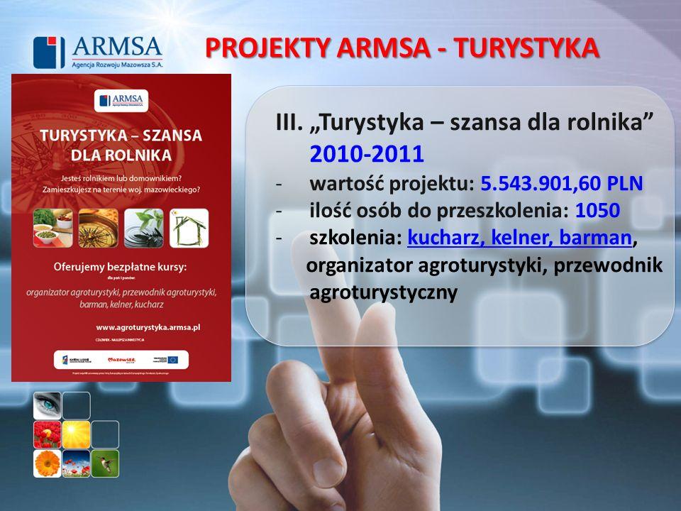 III. Turystyka – szansa dla rolnika 2010-2011 -wartość projektu: 5.543.901,60 PLN -ilość osób do przeszkolenia: 1050 -szkolenia: kucharz, kelner, barm