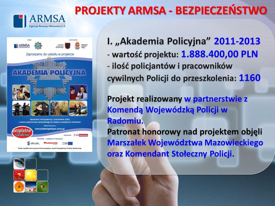 I. Akademia Policyjna 2011-2013 - wartość projektu: 1.888.400,00 PLN - ilość policjantów i pracowników cywilnych Policji do przeszkolenia: 1160 Projek