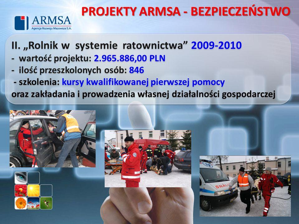 II. Rolnik w systemie ratownictwa 2009-2010 - wartość projektu: 2.965.886,00 PLN - ilość przeszkolonych osób: 846 - szkolenia: kursy kwalifikowanej pi