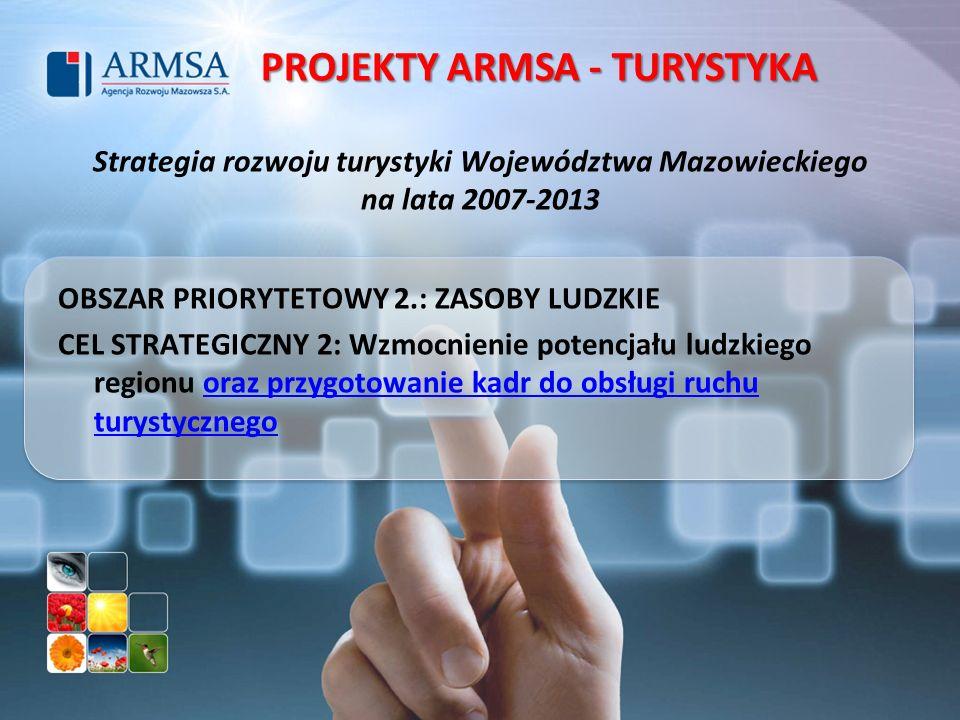 Strategia rozwoju turystyki Województwa Mazowieckiego na lata 2007-2013 OBSZAR PRIORYTETOWY 2.: ZASOBY LUDZKIE CEL STRATEGICZNY 2: Wzmocnienie potencj