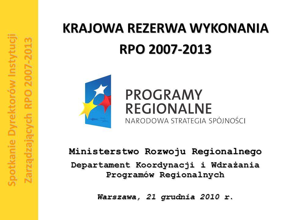 1 Spotkanie Dyrektorów Instytucji Zarządzających RPO 2007-2013 Ministerstwo Rozwoju Regionalnego Departament Koordynacji i Wdrażania Programów Regionalnych Warszawa, 21 grudnia 2010 r.