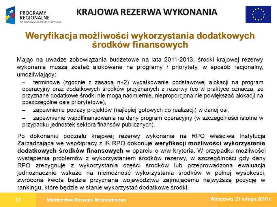 Ministerstwo Rozwoju Regionalnego12 Warszawa, 21 lutego 2010 r.