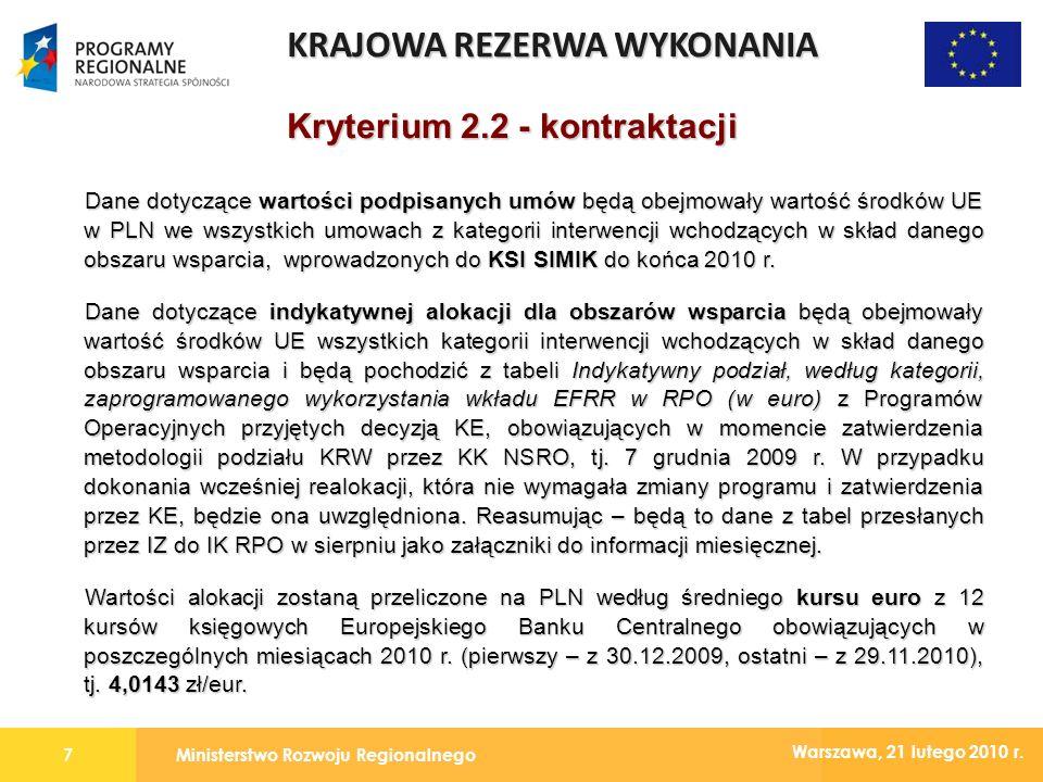 Ministerstwo Rozwoju Regionalnego7 Warszawa, 21 lutego 2010 r.