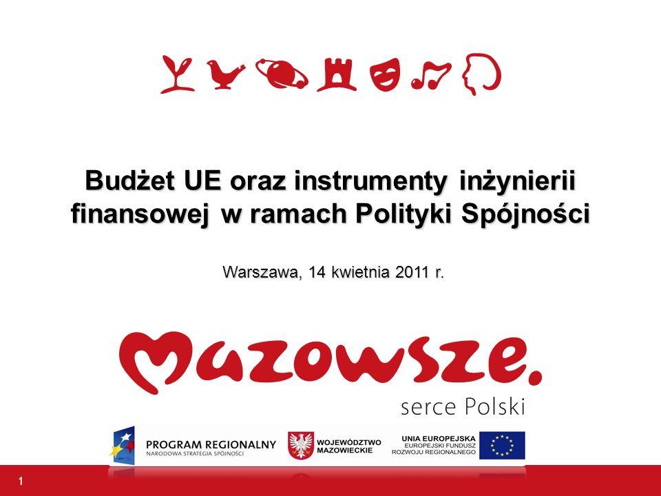 1 Budżet UE oraz instrumenty inżynierii finansowej w ramach Polityki Spójności Warszawa, 14 kwietnia 2011 r.