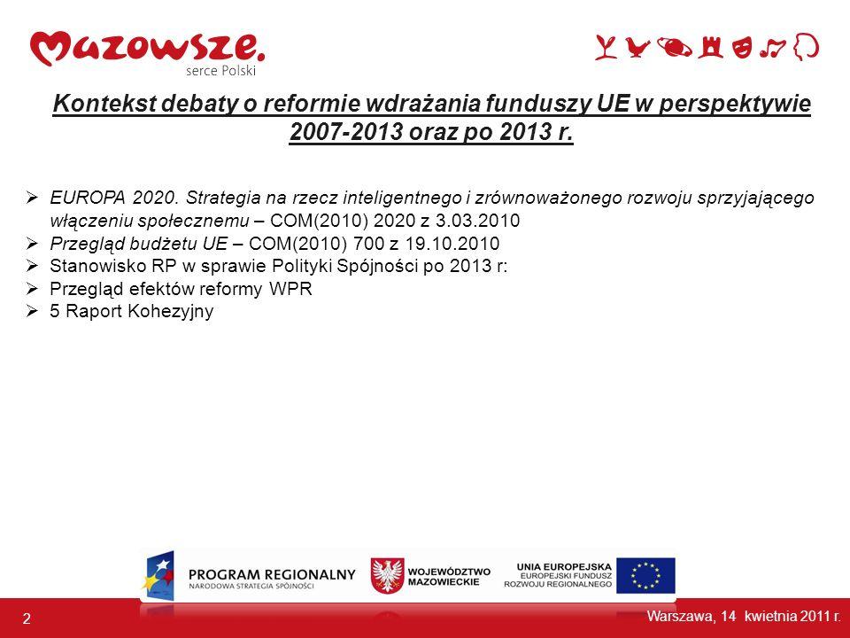 2 Kontekst debaty o reformie wdrażania funduszy UE w perspektywie 2007-2013 oraz po 2013 r. EUROPA 2020. Strategia na rzecz inteligentnego i zrównoważ