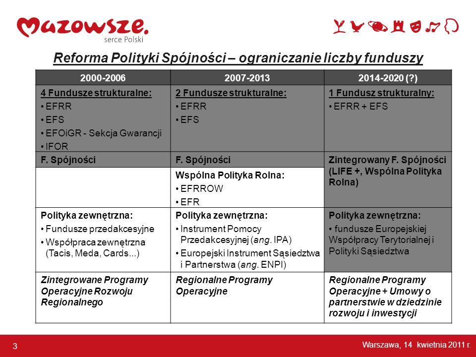 3 Reforma Polityki Spójności – ograniczanie liczby funduszy Warszawa, 14 kwietnia 2011 r. 2000-20062007-20132014-2020 (?) 4 Fundusze strukturalne: EFR