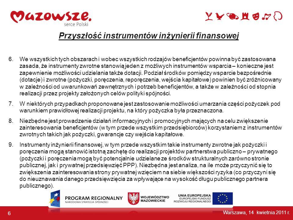 6 Warszawa, 14 kwietnia 2011 r. Przyszłość instrumentów inżynierii finansowej 6.We wszystkich tych obszarach i wobec wszystkich rodzajów beneficjentów