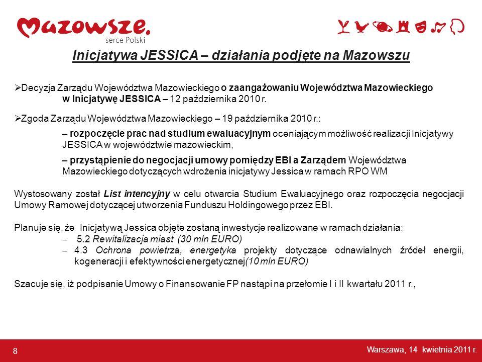 8 Decyzja Zarządu Województwa Mazowieckiego o zaangażowaniu Województwa Mazowieckiego w Inicjatywę JESSICA – 12 października 2010 r. Zgoda Zarządu Woj