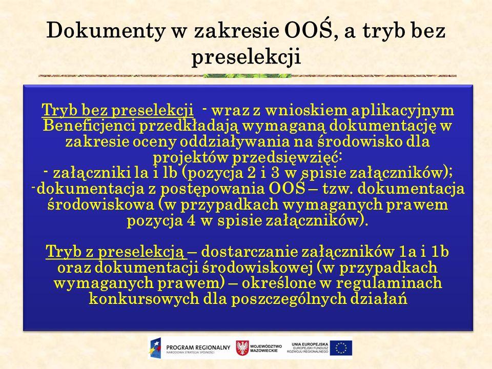 Dokumenty w zakresie OOŚ, a tryb bez preselekcji Tryb bez preselekcji - wraz z wnioskiem aplikacyjnym Beneficjenci przedkładają wymaganą dokumentację