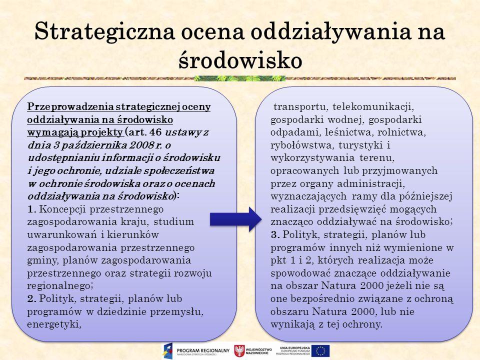 Strategiczna ocena oddziaływania na środowisko Przeprowadzenia strategicznej oceny oddziaływania na środowisko wymagają projekty (art. 46 ustawy z dni