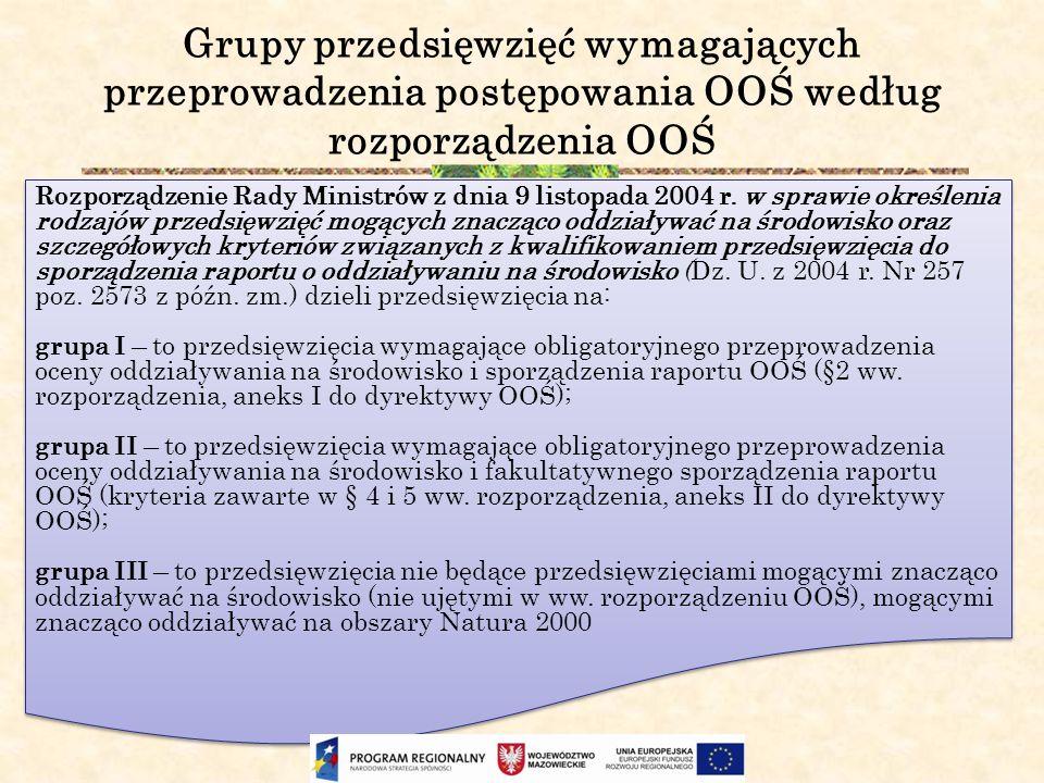 Grupy przedsięwzięć wymagających przeprowadzenia postępowania OOŚ według rozporządzenia OOŚ Rozporządzenie Rady Ministrów z dnia 9 listopada 2004 r. w