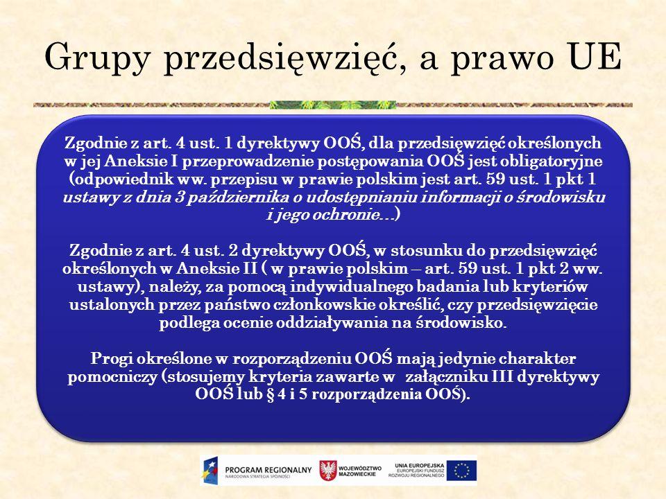 Grupy przedsięwzięć, a prawo UE Zgodnie z art. 4 ust. 1 dyrektywy OOŚ, dla przedsięwzięć określonych w jej Aneksie I przeprowadzenie postępowania OOŚ