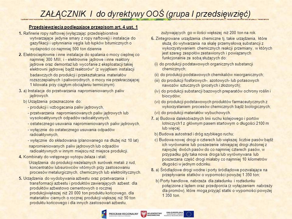 ZAŁĄCZNIK I do dyrektywy OOŚ (grupa I przedsięwzięć) Przedsięwzięcia podlegające przepisom art. 4 ust. 1 1. Rafinerie ropy naftowej (wyłączając przeds