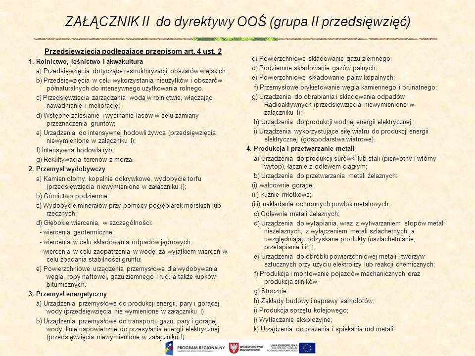 ZAŁĄCZNIK II do dyrektywy OOŚ (grupa II przedsięwzięć) Przedsięwzięcia podlegające przepisom art. 4 ust. 2 1. Rolnictwo, leśnictwo i akwakultura a) Pr