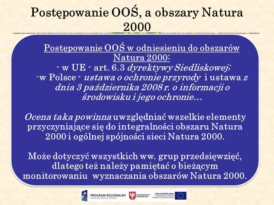 Postępowanie OOŚ, a obszary Natura 2000 Postępowanie OOŚ w odniesieniu do obszarów Natura 2000: - w UE - art. 6.3 dyrektywy Siedliskowej; -w Polsce -
