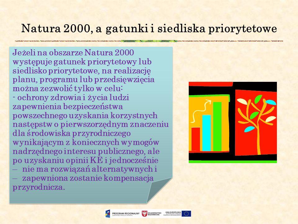 Natura 2000, a gatunki i siedliska priorytetowe Jeżeli na obszarze Natura 2000 występuje gatunek priorytetowy lub siedlisko priorytetowe, na realizacj