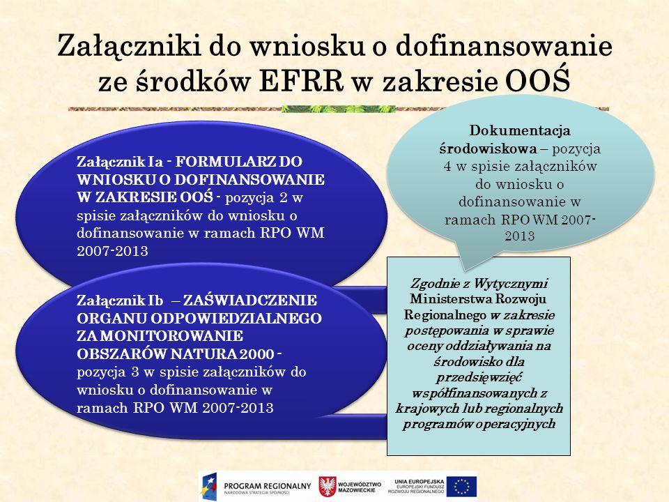 Załączniki do wniosku o dofinansowanie ze środków EFRR w zakresie OOŚ Załącznik Ia - FORMULARZ DO WNIOSKU O DOFINANSOWANIE W ZAKRESIE OOŚ - pozycja 2