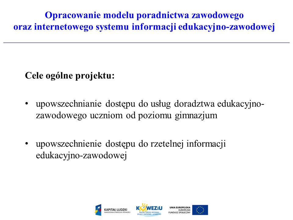 Opracowanie modelu poradnictwa zawodowego oraz internetowego systemu informacji edukacyjno-zawodowej Cele ogólne projektu: upowszechnianie dostępu do