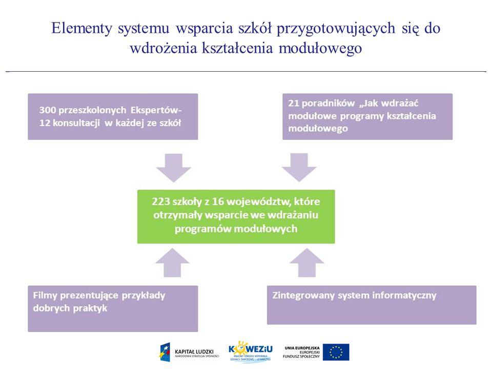 Elementy systemu wsparcia szkół przygotowujących się do wdrożenia kształcenia modułowego