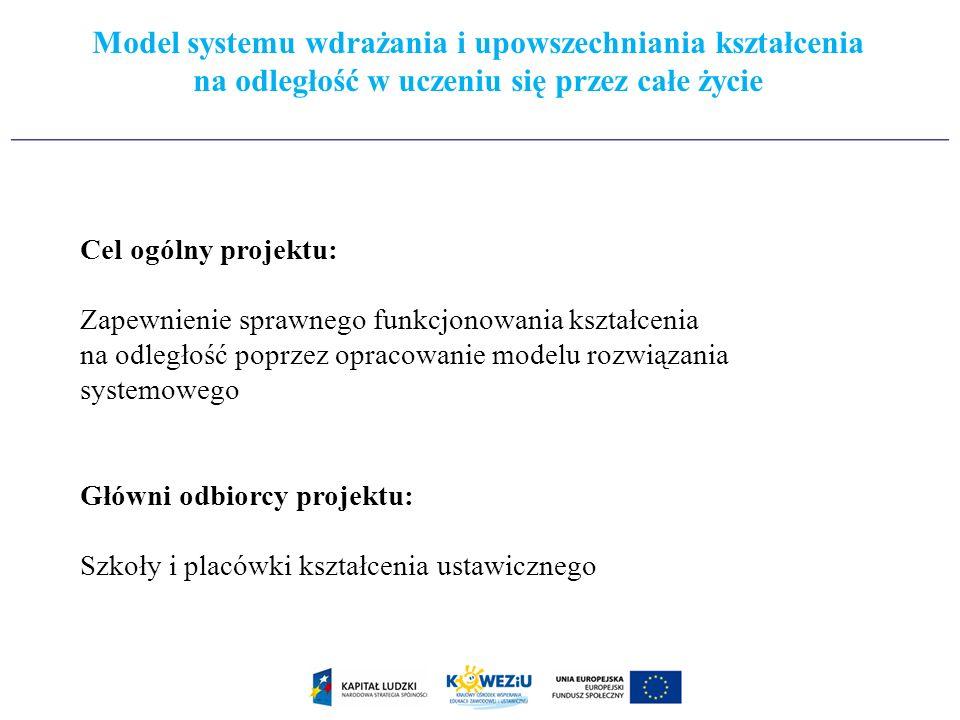 Cel ogólny projektu: Zapewnienie sprawnego funkcjonowania kształcenia na odległość poprzez opracowanie modelu rozwiązania systemowego Główni odbiorcy