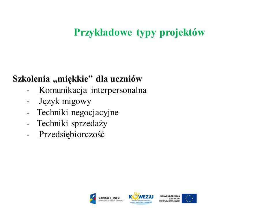 Szkolenia miękkie dla uczniów - Komunikacja interpersonalna - Język migowy -Techniki negocjacyjne -Techniki sprzedaży - Przedsiębiorczość Przykładowe