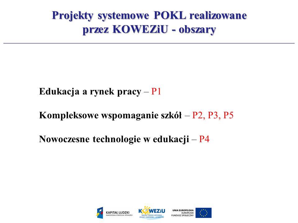 Edukacja a rynek pracy – P1 Kompleksowe wspomaganie szkół – P2, P3, P5 Nowoczesne technologie w edukacji – P4 Projekty systemowe POKL realizowane prze