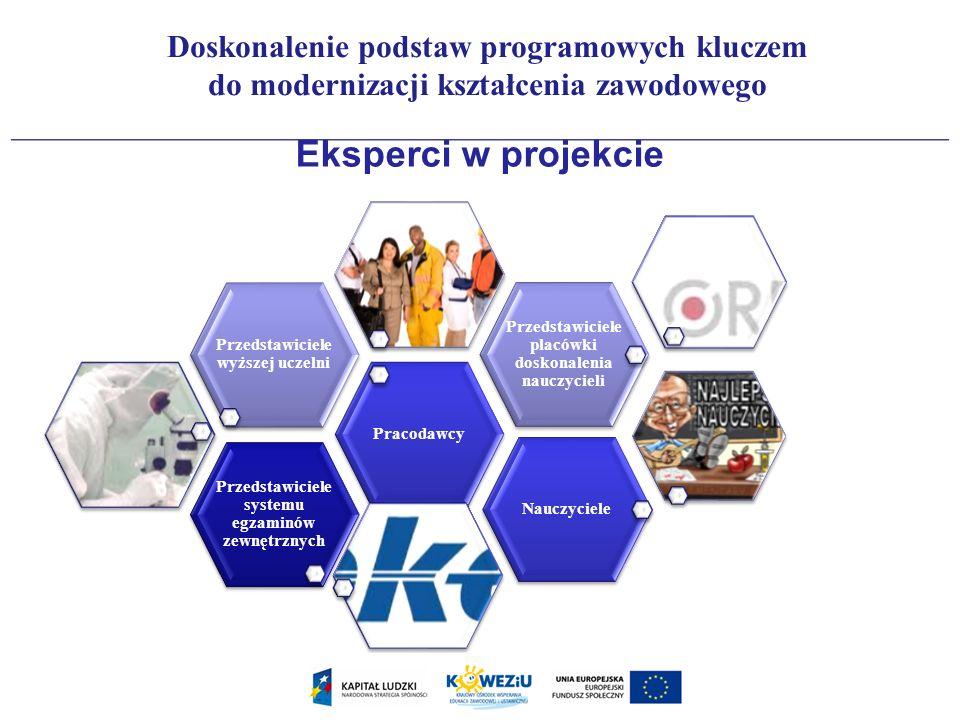 Eksperci w projekcie Przedstawiciele systemu egzaminów zewnętrznych Pracodawcy Przedstawiciele wyższej uczelni Przedstawiciele placówki doskonalenia n