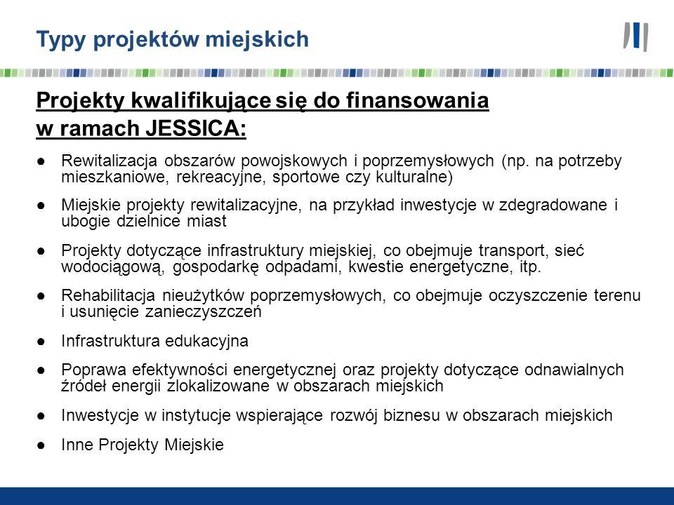 Typy projektów miejskich Projekty kwalifikujące się do finansowania w ramach JESSICA: Rewitalizacja obszarów powojskowych i poprzemysłowych (np. na po