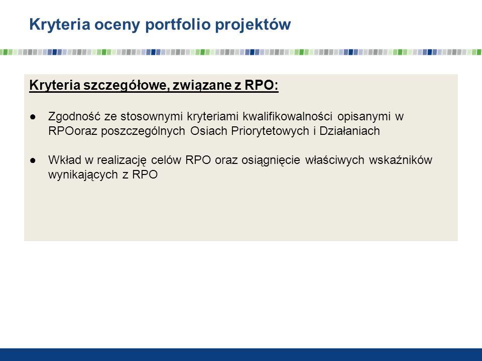Kryteria oceny portfolio projektów Kryteria szczegółowe, związane z RPO: Zgodność ze stosownymi kryteriami kwalifikowalności opisanymi w RPOoraz poszc