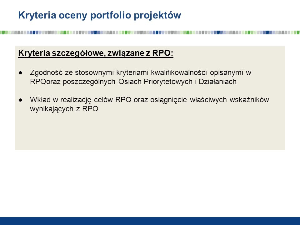 Kryteria oceny portfolio projektów cd.