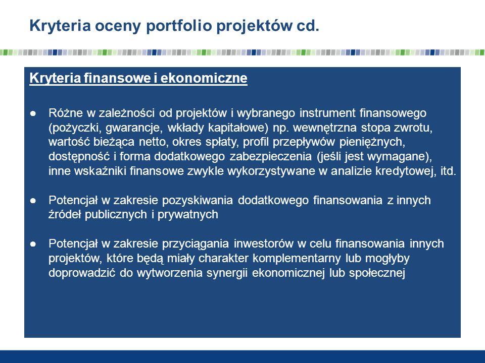 Kryteria oceny portfolio projektów cd. Kryteria finansowe i ekonomiczne Różne w zależności od projektów i wybranego instrument finansowego (pożyczki,