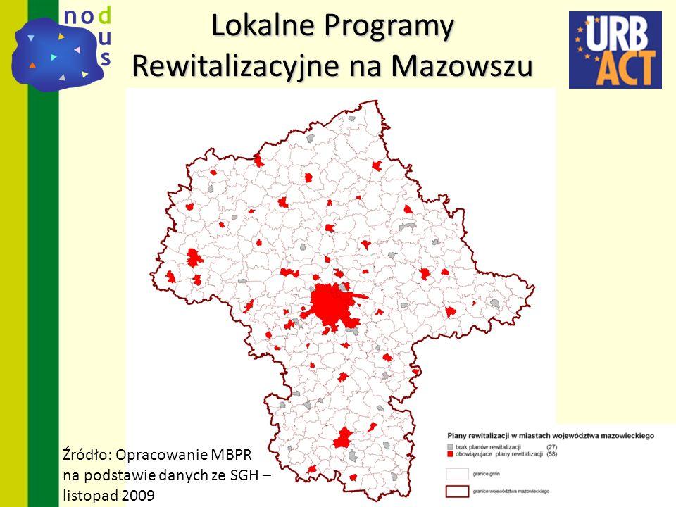 Lokalne Programy Rewitalizacyjne na Mazowszu Źródło: Opracowanie MBPR na podstawie danych ze SGH – listopad 2009