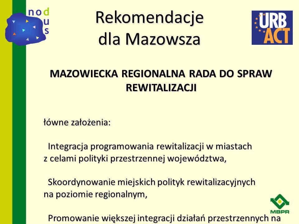 Rekomendacje dla Mazowsza G łówne założenia: - Integracja programowania rewitalizacji w miastach z celami polityki przestrzennej województwa, - Skoord