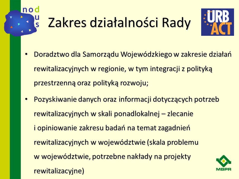 Zakres działalności Rady Doradztwo dla Samorządu Wojewódzkiego w zakresie działań rewitalizacyjnych w regionie, w tym integracji z polityką przestrzen