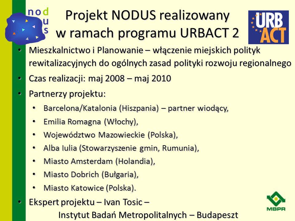 Cel projektu NODUS Skoordynowanie regionalnego planowania przestrzennego z miejskimi politykami rewitalizacyjnymi oraz wzmocnienie pozytywnego oddziaływania miejskich projektów rewitalizacyjnych na rozwój regionalny poprzez zmaksymalizowanie pozytywnego oddziaływania stosownych polityk regionalnych, które przyczyniają się do sukcesu prowadzonych przez miasta działań rewitalizacyjnych.