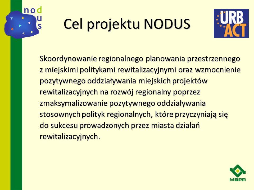 Cel projektu NODUS Skoordynowanie regionalnego planowania przestrzennego z miejskimi politykami rewitalizacyjnymi oraz wzmocnienie pozytywnego oddział