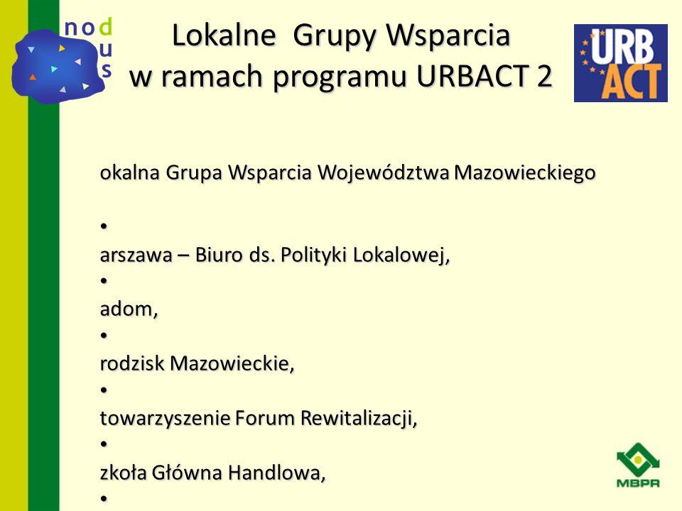 Lokalne Grupy Wsparcia w ramach programu URBACT 2 L okalna Grupa Wsparcia Województwa Mazowieckiego W arszawa – Biuro ds. Polityki Lokalowej, W arszaw
