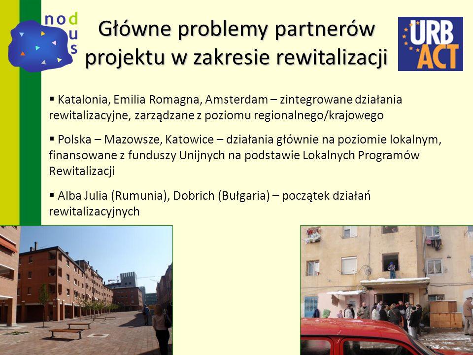 Katalonia, Emilia Romagna, Amsterdam – zintegrowane działania rewitalizacyjne, zarządzane z poziomu regionalnego/krajowego Polska – Mazowsze, Katowice