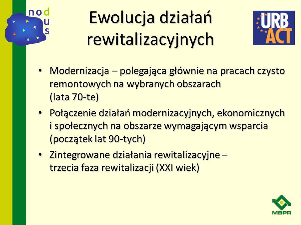 Ewolucja działań rewitalizacyjnych Modernizacja – polegająca głównie na pracach czysto remontowych na wybranych obszarach (lata 70-te) Modernizacja –