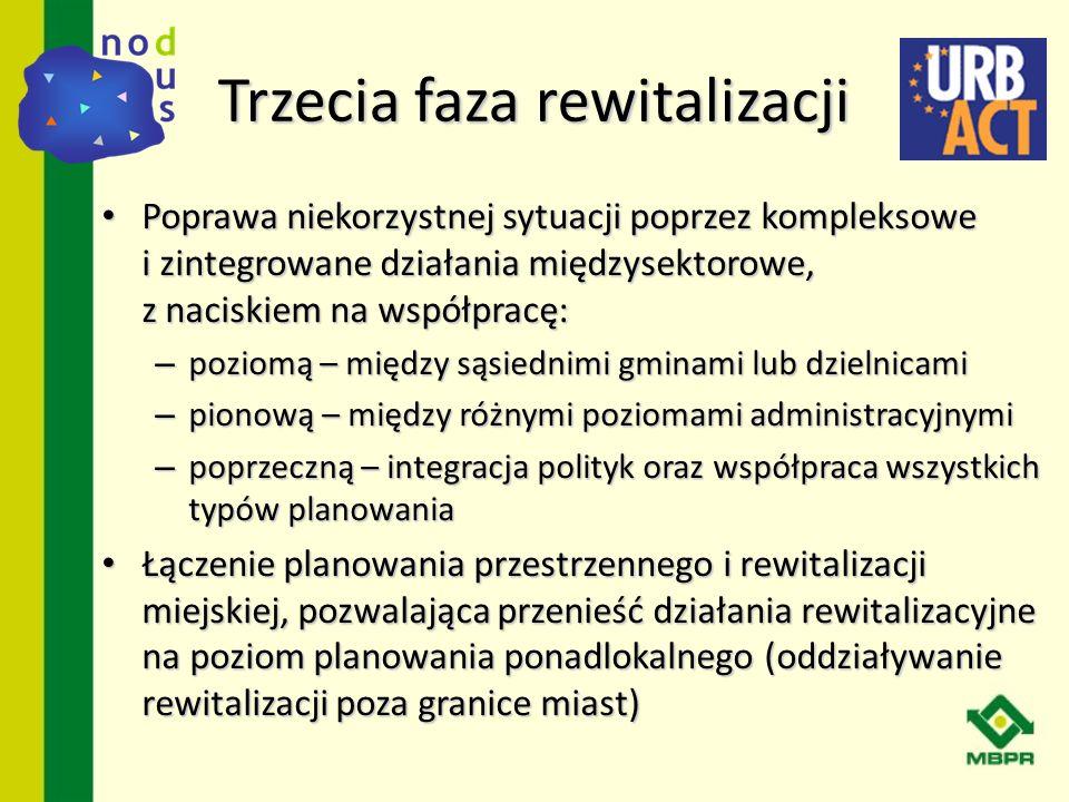 Działaniom rewitalizacyjnym przewodniczyć powinna odpowiednia instytucja (na poziomie ponadlokalnym lub miejskim) poprzez: Działaniom rewitalizacyjnym przewodniczyć powinna odpowiednia instytucja (na poziomie ponadlokalnym lub miejskim) poprzez: – rozwijanie programów rewitalizacyjnych zgodnie z istniejącymi planami i strategiami przestrzennymi.