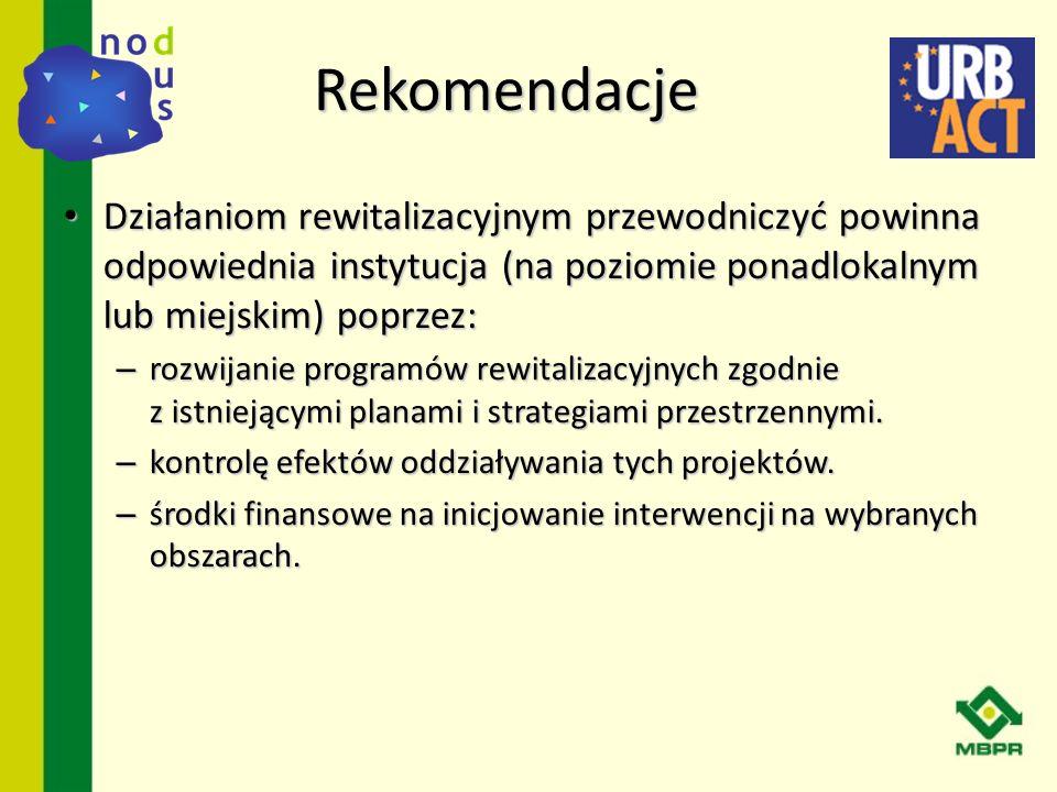 Działaniom rewitalizacyjnym przewodniczyć powinna odpowiednia instytucja (na poziomie ponadlokalnym lub miejskim) poprzez: Działaniom rewitalizacyjnym