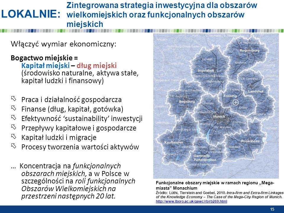 Zintegrowana strategia inwestycyjna dla obszarów wielkomiejskich oraz funkcjonalnych obszarów miejskich Włączyć wymiar ekonomiczny: Bogactwo miejskie