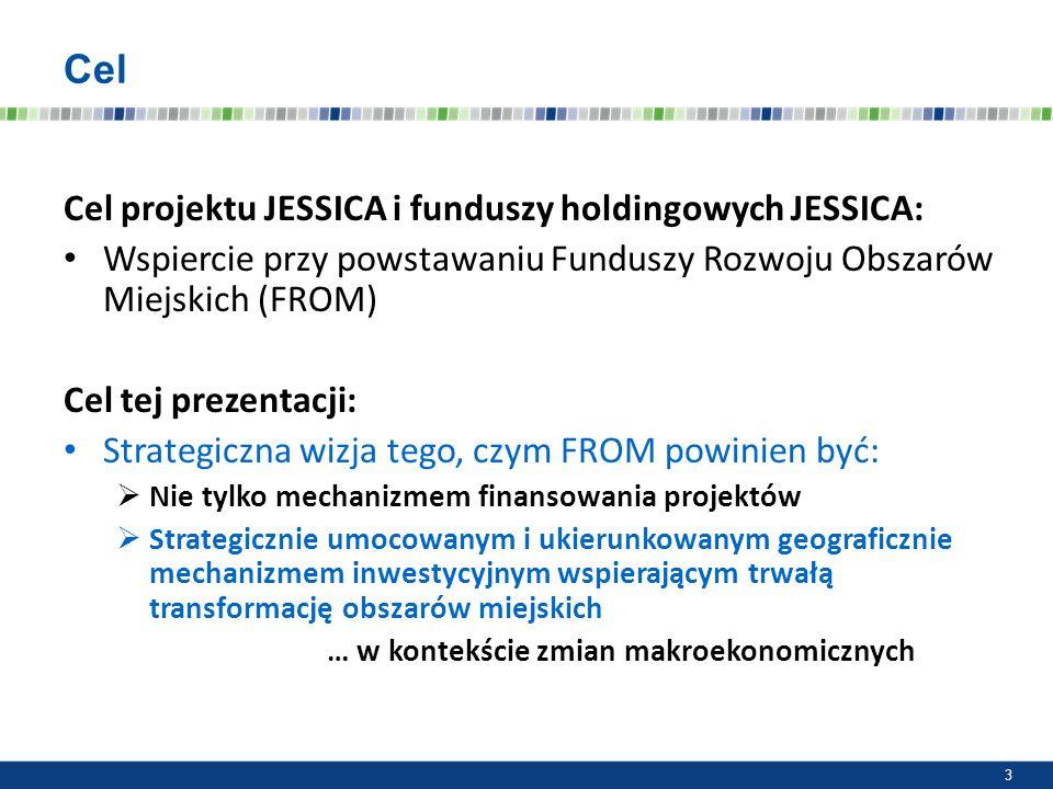 Cel Cel projektu JESSICA i funduszy holdingowych JESSICA: Wspiercie przy powstawaniu Funduszy Rozwoju Obszarów Miejskich (FROM) Cel tej prezentacji: S