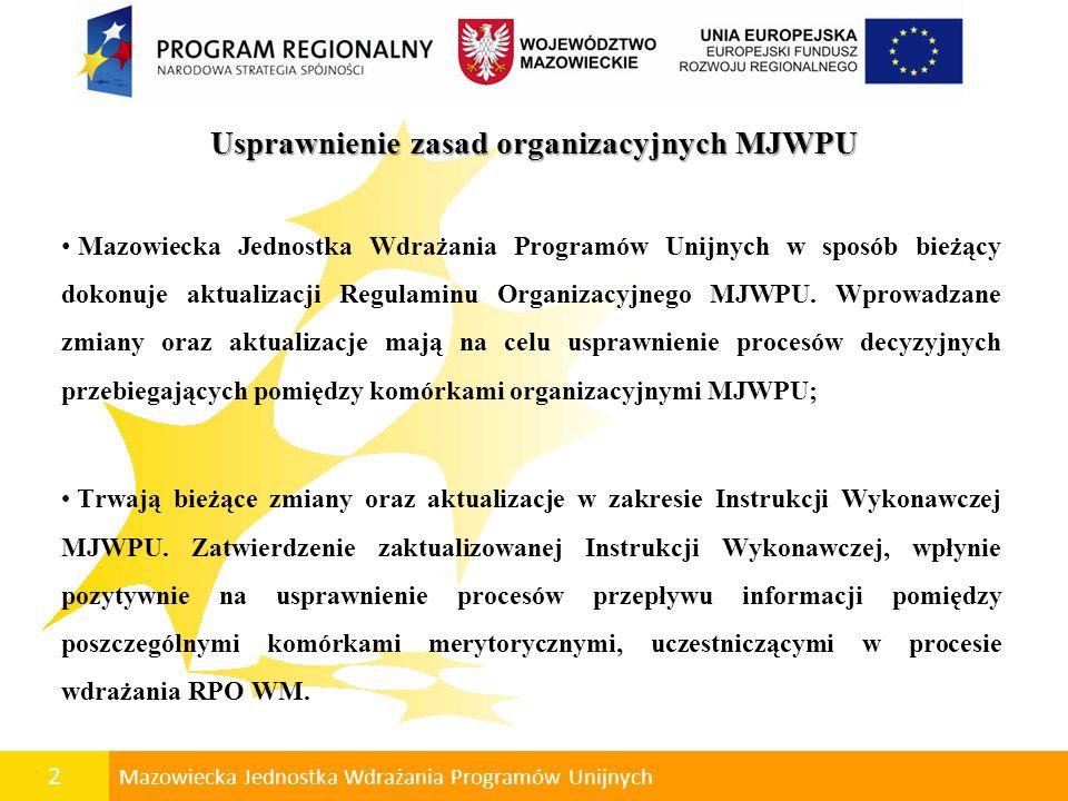2 Mazowiecka Jednostka Wdrażania Programów Unijnych Usprawnienie zasad organizacyjnych MJWPU Mazowiecka Jednostka Wdrażania Programów Unijnych w sposó
