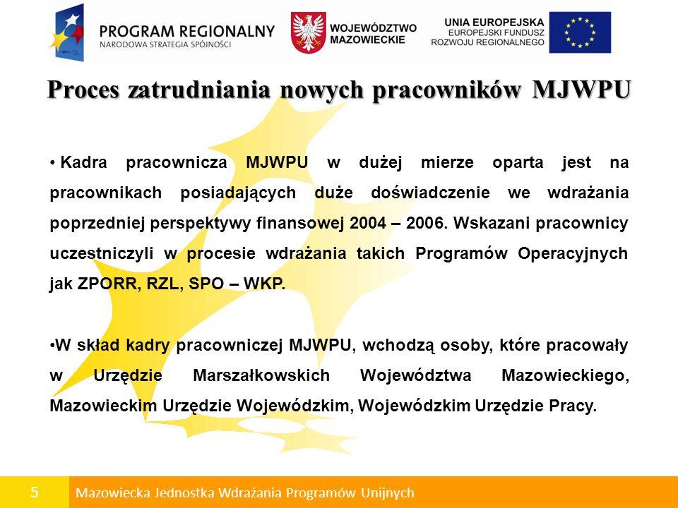 5 Mazowiecka Jednostka Wdrażania Programów Unijnych Proces zatrudniania nowych pracowników MJWPU Kadra pracownicza MJWPU w dużej mierze oparta jest na