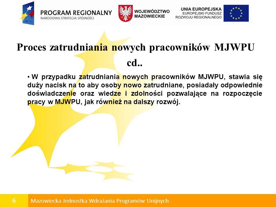 6 Mazowiecka Jednostka Wdrażania Programów Unijnych Proces zatrudniania nowych pracowników MJWPU cd.. W przypadku zatrudniania nowych pracowników MJWP